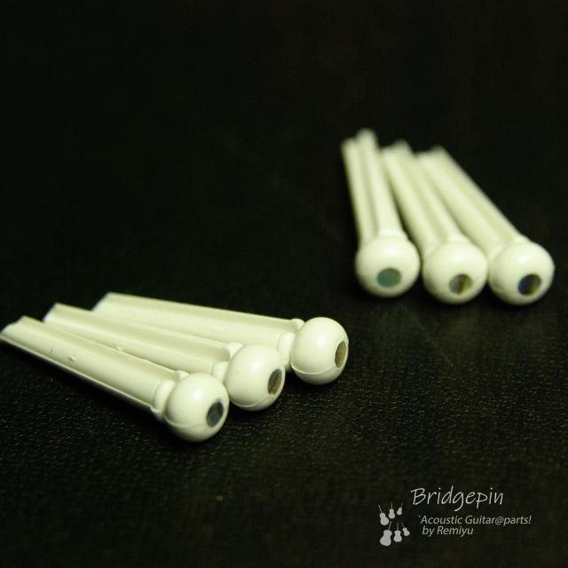 #3044  【ブリッジピン】 白ABS樹脂559 メキシコ貝3mmドット 6本セット 弦溝あり ライトサウンド 送料160円ポスト投函