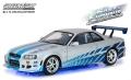 グリーンライト 1/18 Artisan Collection 日産 スカイライン GT-R(R34) 1999 ブルーネオンLED 「ワイルド・スピード X2(2003)」