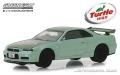 グリーンライト 1/64 2000 日産 スカイライン GT-R (R34) - Two-Tone Green - Turtle Wax