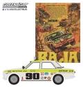 """グリーンライト 1/64 Vintage Ad Cars Series 1 - 1969 Datsun 510 4-Door Sedan #90 1969 Mexican 1000 """"Datsun Rallys To The Cause"""""""
