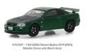 グリーンライト 1/64 Tokyo Torque Series 3 - 2000 日産 スカイライン GT-R (R34) - メタリックグリーン with Black Hood