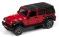 オートワールド 1/64 2018 Jeep Wrangler Sahara in Firecracker Red with Flat Black Roof