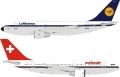 [予約]InFlight Model 1/200 A310-221 ルフトハンザ、スイス航空 ハイブリッド塗装 F-WZLH