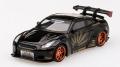 [予約]【お1人様5個まで】MINI GT 1/64 LB★WORKS Nissan GT-R R35 タイプ1 リアウイング バージョン 1+2 ブラック (左ハンドル)