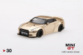 【お1人様2個まで】MINI GT 1/64 LB★WORKS 日産 GT-R R35 タイプ1 リアウイング バージョン2 サテンゴールド 北米限定