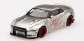 【お1人様5個まで】MINI GT 1/64 LB★WORKS 日産 GT-R R35 タイプ1 リアウイング バージョン2 サテンシルバー (右ハンドル)