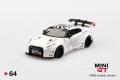 【お1人様5個まで】MINI GT 1/64 LB★WORKS 日産 GT-R R35 タイプ1 リアウイング バージョン 1+2 ホワイト (右ハンドル)