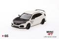 【お1人様5個まで】MINI GT 1/64 ホンダ シビック Type R チャンピオンシップホワイト w/ Carbon Kit & TE37 Wheel (右ハンドル)