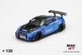 """【お1人様5個まで】MINI GT 1/64 LB★WORKS Nissan GT-R R35 タイプ2 リアウイングバージョン 3 ブルー """"LBWK"""" 2.0(右ハンドル)"""