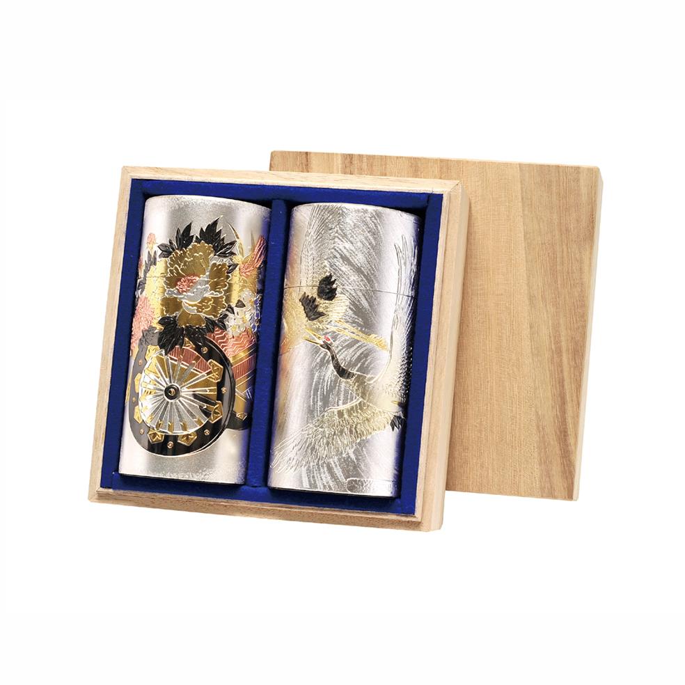 彫刻缶(花車.鶴)(チョウコクカン ハナグルマ.ツル) 新茶 特撰ぐり茶 200号 120g×2本(桐箱入)(4月下旬予定)