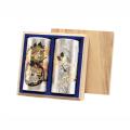 彫刻缶(花車.鶴)(チョウコクカン ハナグルマ.ツル) 特撰ぐり茶 200号 120g×2本(桐箱入)