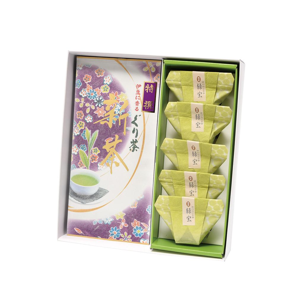 新茶 特撰ぐり茶(100g×2本)+ぐり茶 葛餅 5個