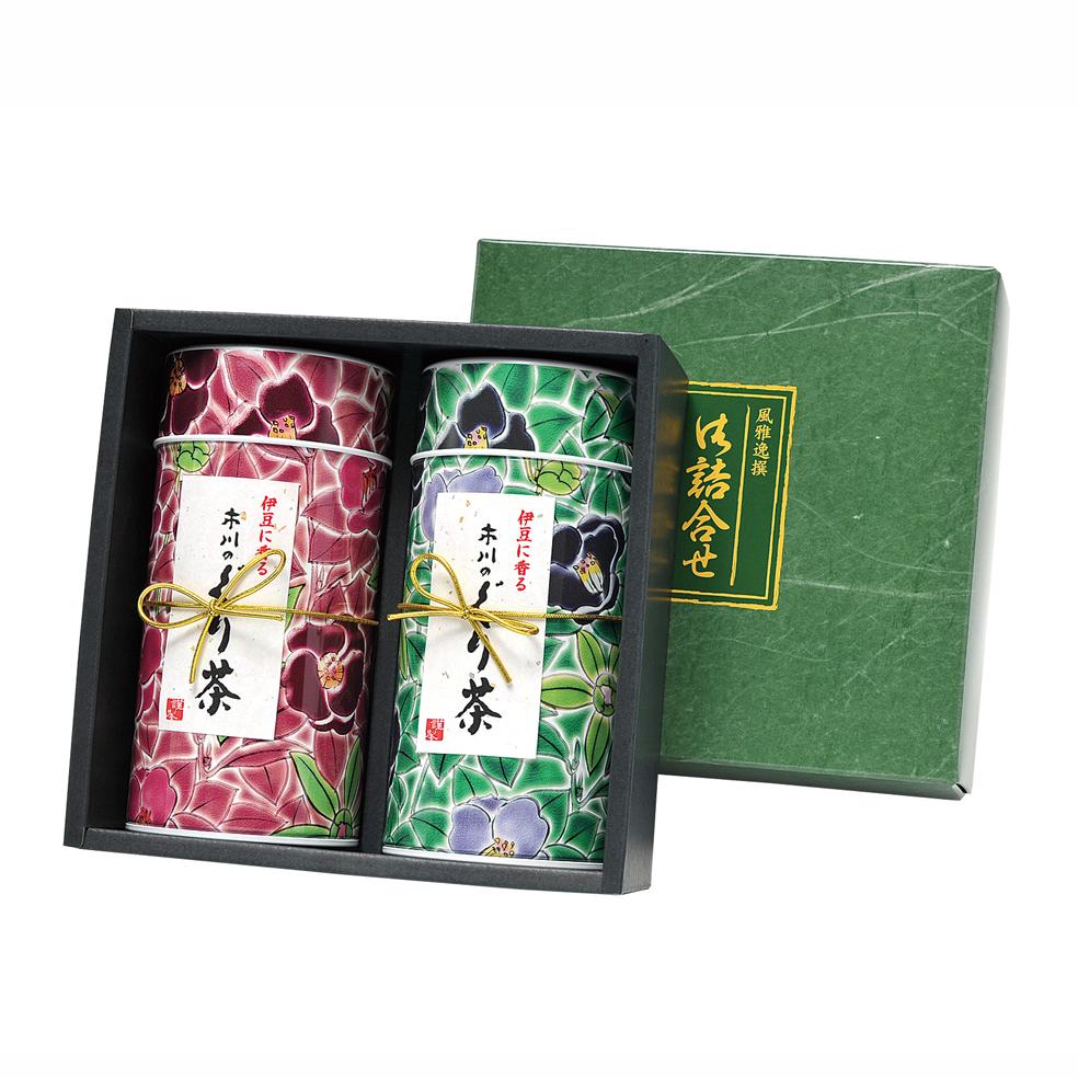 九谷つばき缶(クタニツバキ) 特撰ぐり茶 100号 / 冬の彩り 各120g入(2本箱入)