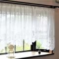 加栄 パイルレースデザインカーテン (フリル付き)