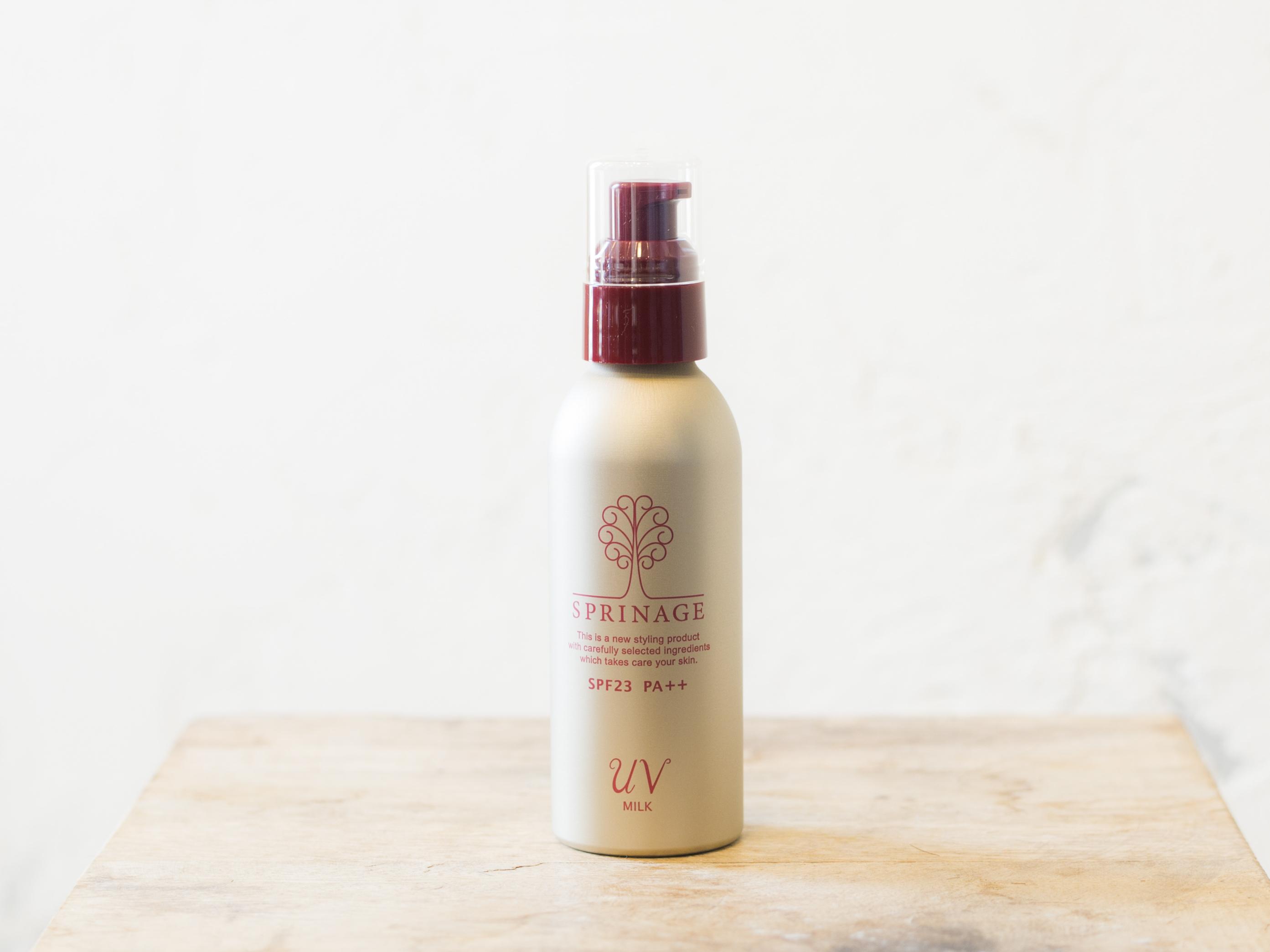 スプリナージュ UV ミルク(130ml)|肌をうるおわせ、髪を整える乳液タイプの、頭皮、髪、肌全てに使用可能UVクリーム SPF23 PA++
