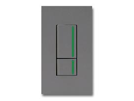 NKシリーズ配線器具3路ガイドランプ付スイッチダブルセット1連用プレート付-ソリッドグレー・ソフトブラック 神保電器(JIMBO)