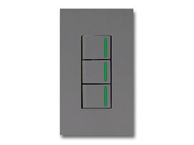 NKシリーズ配線器具3路ガイドランプ付スイッチトリプルセット1連用プレート付-ソリッドグレー・ソフトブラック 神保電器(JIMBO)