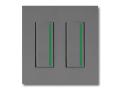 NKシリーズ配線器具3路ガイドランプ付スイッチセット(シングル+シングル)2連用プレート付-ソリッドグレー・ソフトブラック 神保電器(JIMBO)