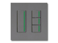 NKシリーズ配線器具3路ガイドランプ付スイッチセット(シングル+トリプル)2連用プレート付-ソリッドグレー・ソフトブラック 神保電器(JIMBO)