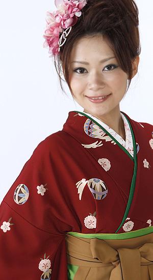 エンジ地 うさぎ【袴レンタル着物】K2056