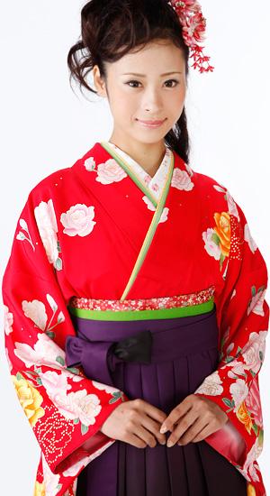 紅色に牡丹【袴レンタル着物】K2382