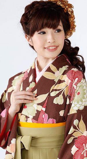 茶色に菊【袴レンタル着物】K2445