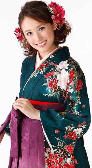 深い緑・花【袴レンタル着物】K2854