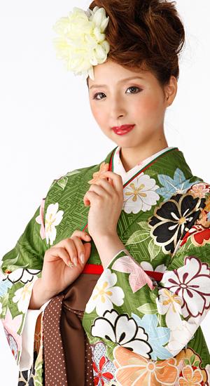 抹茶色・桜、もみじ【袴レンタル着物】K3017