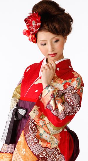 赤・束ね熨斗目【袴レンタル着物】K3020