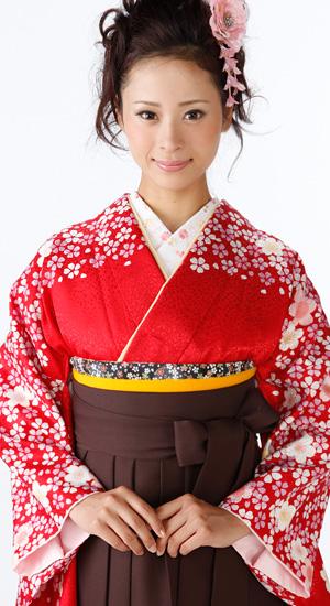 紅色に桜【袴レンタル着物】K2213