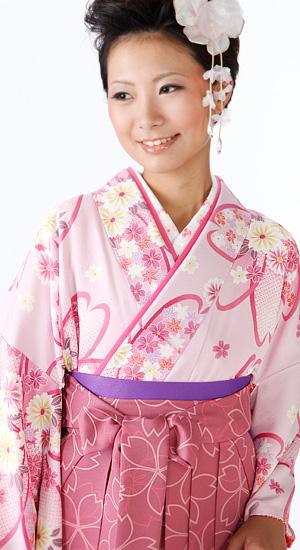 ピンクに桜・菊【袴レンタル着物】K2269