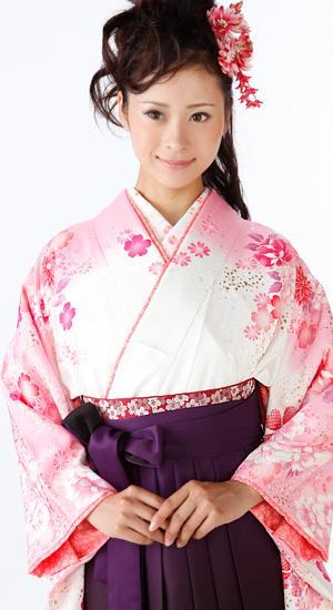 白に桜【袴レンタル着物】K2377