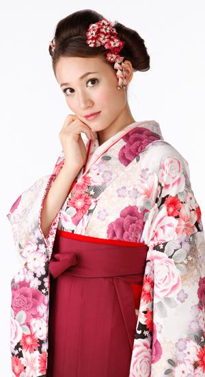 白・ピンクに花柄【袴レンタル着物】K2852