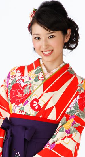 朱色に矢絣【袴レンタル着物】K2860