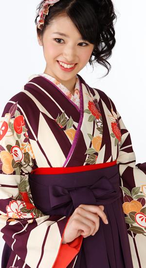 紫に矢絣【袴レンタル着物】K2861