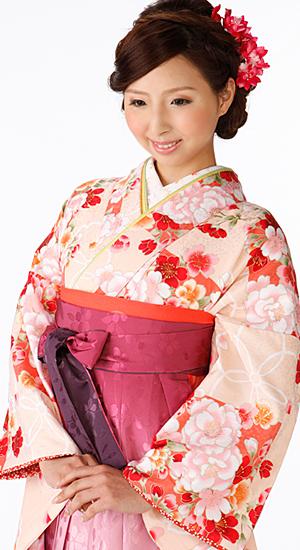 淡いピンクオレンジ・花【袴レンタル着物】K2874