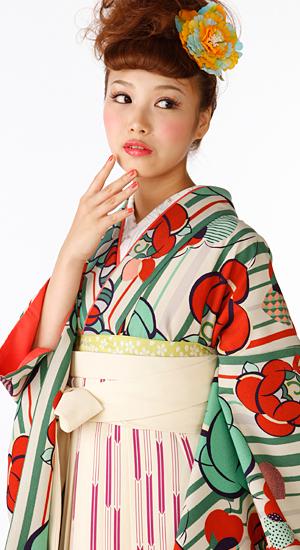 ストライプ・ばら【袴レンタル着物】K3001