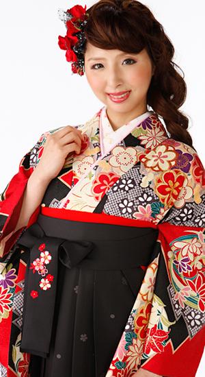 黒、赤・花輪【袴レンタル着物】K3002