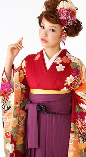 落ち着いた赤・松、花車【袴レンタル着物】K3005