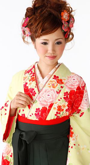 ひわ色・バラ【袴レンタル着物】K3014
