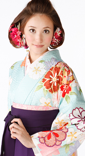 水色・桜、もみじ【袴レンタル着物】K3018