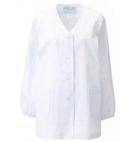 330-30 女子 衿なし調理衣 長袖(ブロード)