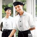 635 カゼン コックシャツ 五分袖 女性用 スリットカフス 両胸ポケット 裾口スリット KAZEN サービス フードユニフォーム フードサービス 食品 制服 レストラン 飲食 ホテル カラー レディース レディス 女子 半袖 5分袖 ホワイト×グレー
