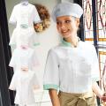 690 カゼン コックシャツ 半袖 女性用 バイカラー O-157対応制菌加工 左胸ポケット 裾口スリット KAZEN サービス フードユニフォーム フードサービス 食品 制服 レストラン 飲食 ホテル カラー レディース レディス 女子 5分袖
