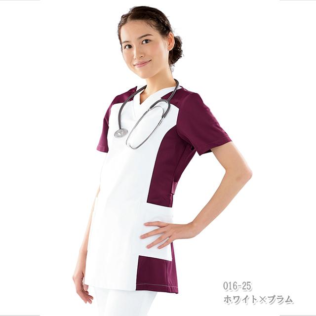 016 カゼン ナースウェア 女性用スクラブ ウエストをシェイプしたチュニック丈  制菌 吸汗 防汚 ポケット付き KAZEN 医療用 看護師用 白衣 看護衣 ナース服 レディス レディース 大きいサイズ ピンク グリーン