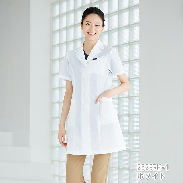 2529PH フォーク ドクターウェア 女子 シングルコート 半袖 女性用 レディス 医療用 研究 実験 薬局 医師 ドクター 薬剤師 涼しい 白衣 FOLK