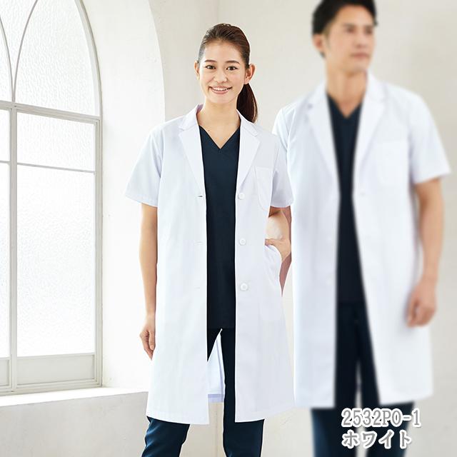 2532PO フォーク ドクターウェア レディス 診察衣 シングル 半袖 女性用 医療用 研究 実験 薬局 医師 ドクター 薬剤師 涼しい 白衣 FOLK