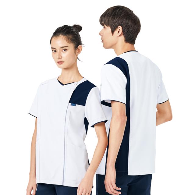 7060SC FOLK フォーク メンズジップスクラブ 着脱しやすい ジップアップタイプ 男性用 (白衣 医療用 看護師用 ナース ホワイト)