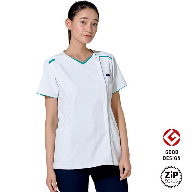 7066SC フォーク ナースウェア レディス ジップ スクラブ 女性用 医療用 看護師 ナース ホワイト 白衣 前開き