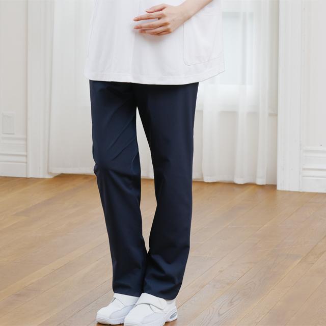 854 カゼン ナースウェア マタニティ パンツ 医療用 看護師用 医師 ドクター 妊婦 白 ホワイト 紺 ネイビー ウエスト リブ ゴム KAZEN